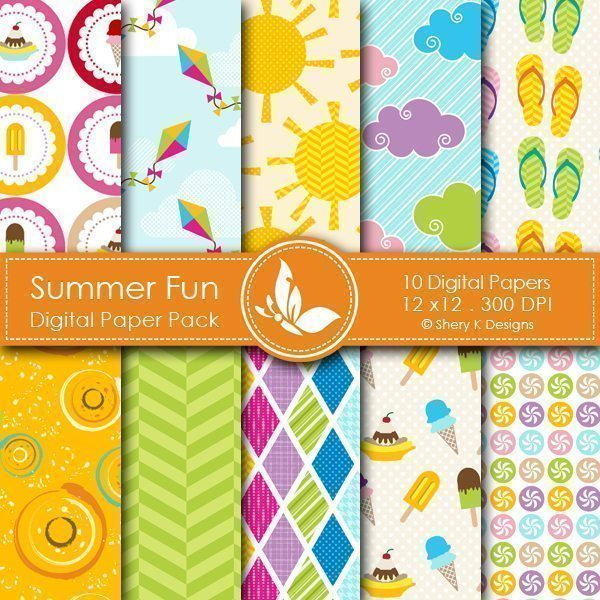 Summer Fun - 10 Digital papers  Shery K Designs    Mygrafico