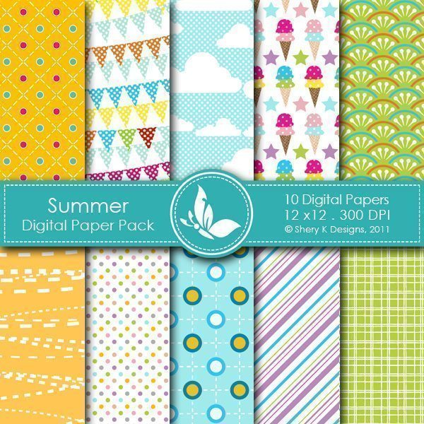 Summer - 10 Digital papers  Shery K Designs    Mygrafico