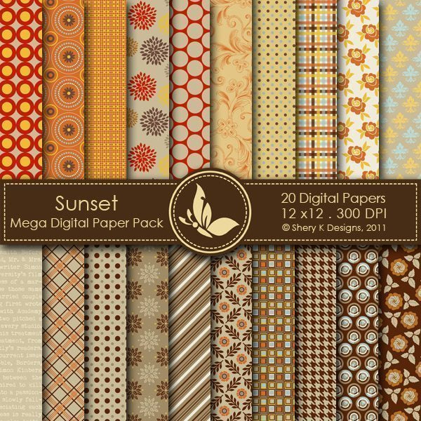 Sunset - 20 Digital papers  Shery K Designs    Mygrafico