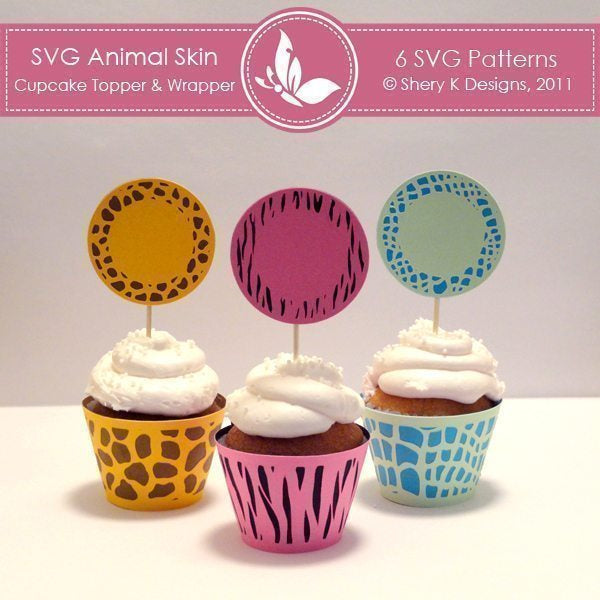 SVG Animal Skin Cupcake Topper and Wrapper  Shery K Designs    Mygrafico