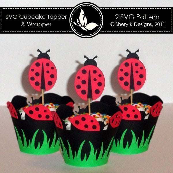 SVG Ladybug Cupcake Topper and Wrapper  Shery K Designs    Mygrafico