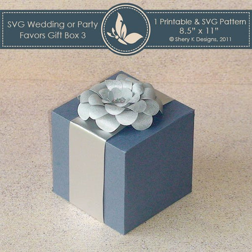 SVG wedding or party favors gift box 003 with Flower  Shery K Designs    Mygrafico