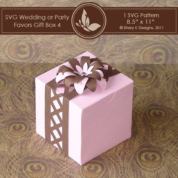 SVG favors gift box 004 with Flower and Border  Shery K Designs    Mygrafico