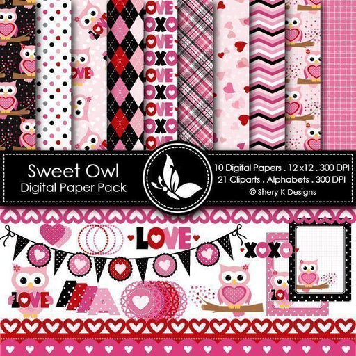 Sweet Valentine Owl Digital Papers  Shery K Designs    Mygrafico