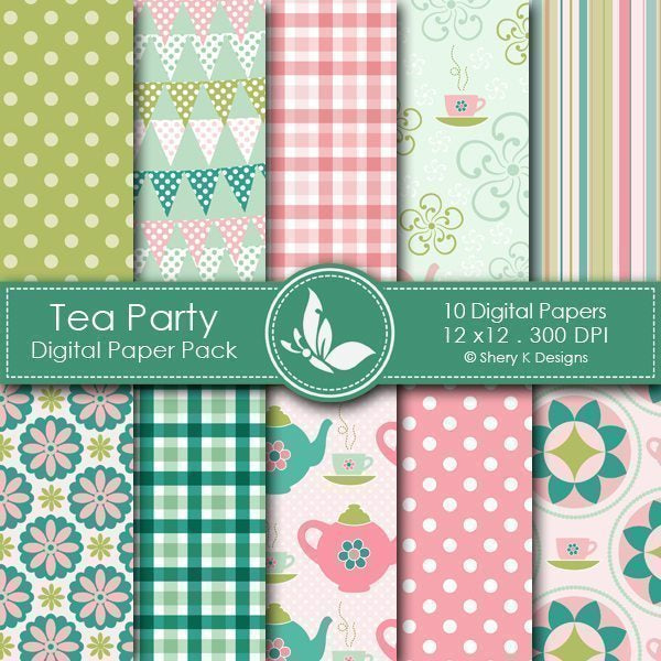 Tea Party - 10 Digital papers  Shery K Designs    Mygrafico
