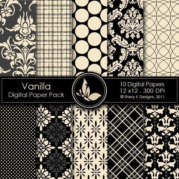 Vanilla - 10 Digital Papers  Shery K Designs    Mygrafico