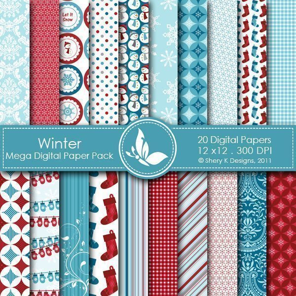 Winter - 20 Digital papers  Shery K Designs    Mygrafico