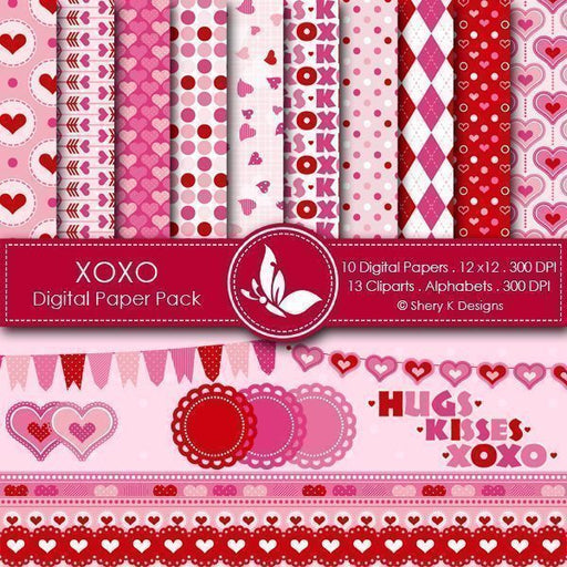 Valentine XOXO Clipart and papers  Shery K Designs    Mygrafico