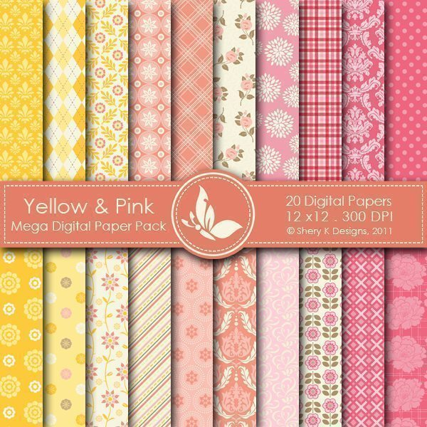 Yellow & Pink - 20 Digital papers  Shery K Designs    Mygrafico
