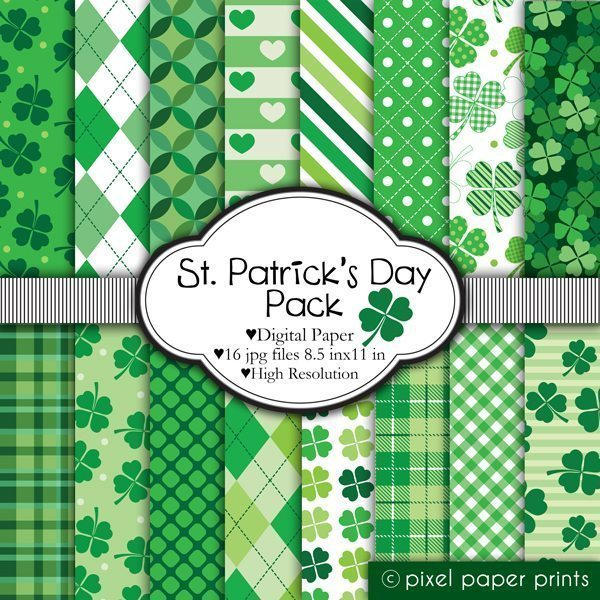 St Patricks Day - Digital papers  Pixel Paper Prints    Mygrafico