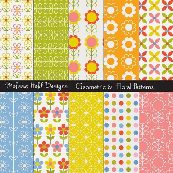 Floral Geometric Patterns Digital Paper & Backgrounds Melissa Held Designs    Mygrafico