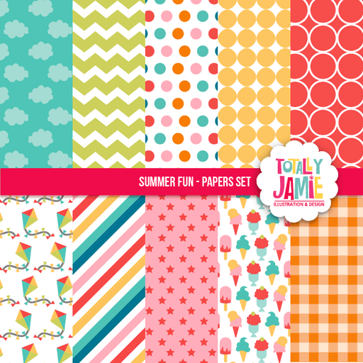 Summer Fun Papers Set Digital Papers & Backgrounds Totally Jamie    Mygrafico