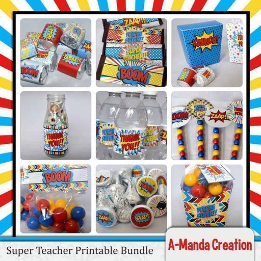 Super Teacher! Super Hero Teacher Appreciation Printable Bundle  A-Manda Creation    Mygrafico
