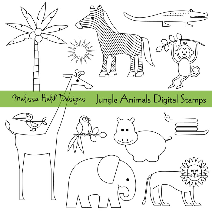 Jungle Animals Digital Stamps Digital Stamps Melissa Held Designs    Mygrafico