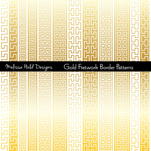 Gold Fretwork Border Patterns Clipart & Digital Paper Melissa Held Designs    Mygrafico