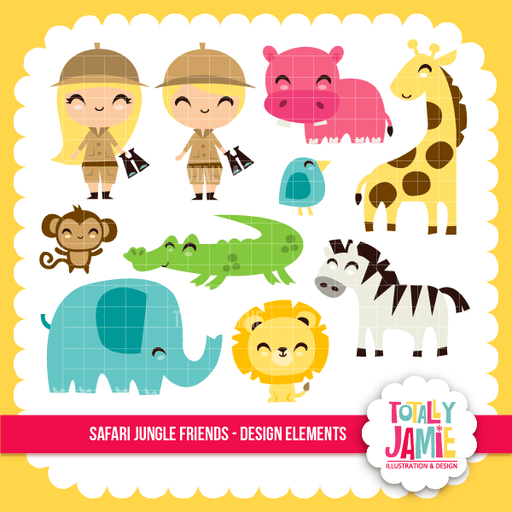 Safari Jungle Friends Set Clipart Totally Jamie    Mygrafico
