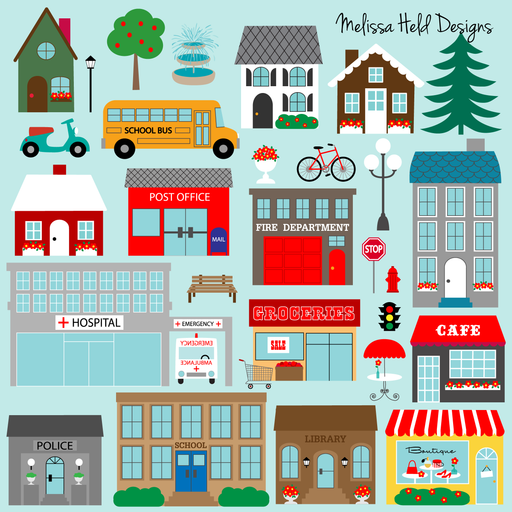 Town Buildings Clipart Cliparts Melissa Held Designs    Mygrafico
