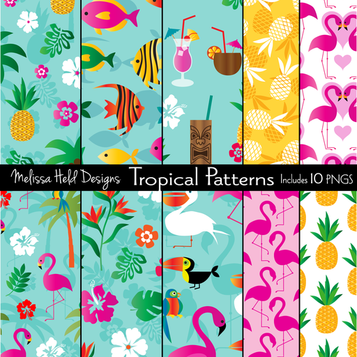Tropical Pineapple & Flamingo Patterns Clipart & Digital Paper Melissa Held Designs    Mygrafico