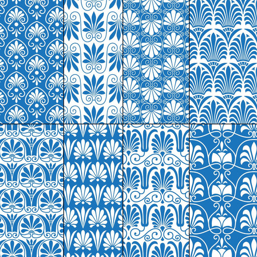 Blue and White Greek Ornamental Patterns