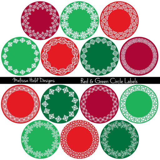 Ornate Red and Green Circle Labels Cliparts Melissa Held Designs    Mygrafico
