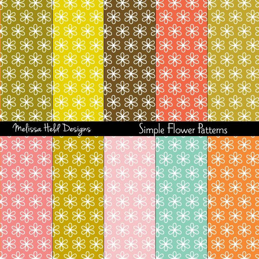 Simple Flower Patterns Digital Paper & Backgrounds Melissa Held Designs    Mygrafico