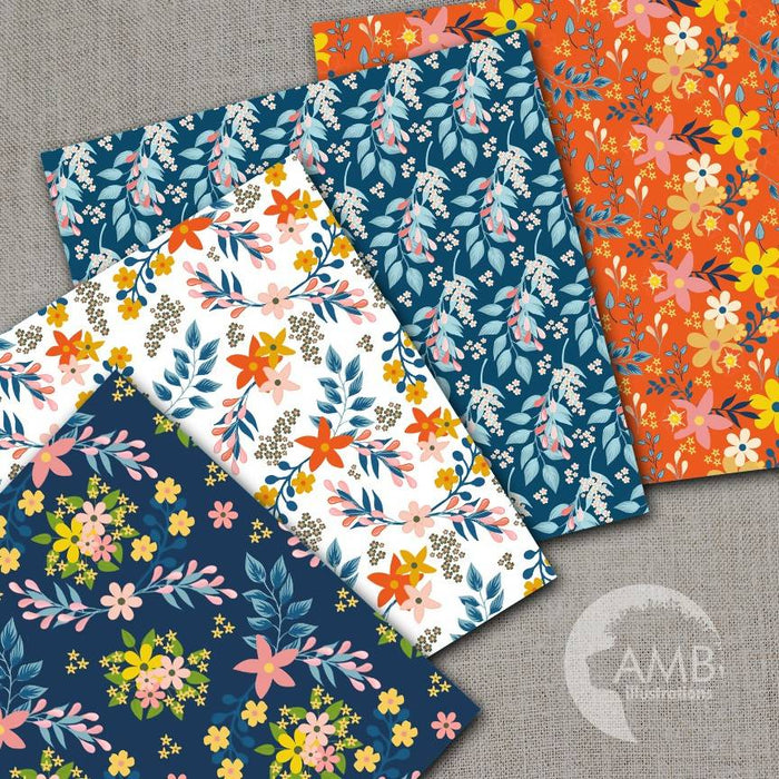 Floral papers, Secret Garden Digital Papers, Shabby Chic papers, Oranges and blues, scrapbook papers, flower paper, digital paper,  AMB-1835 Digital Paper & Backgrounds AMBillustrations    Mygrafico
