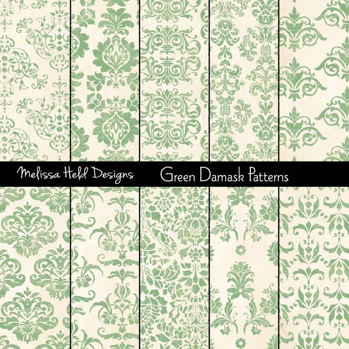 Green Damask Patterns Digital Paper & Backgrounds Melissa Held Designs    Mygrafico