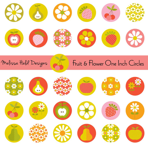 Fruit and Flower One Inch Circles Cliparts Melissa Held Designs    Mygrafico
