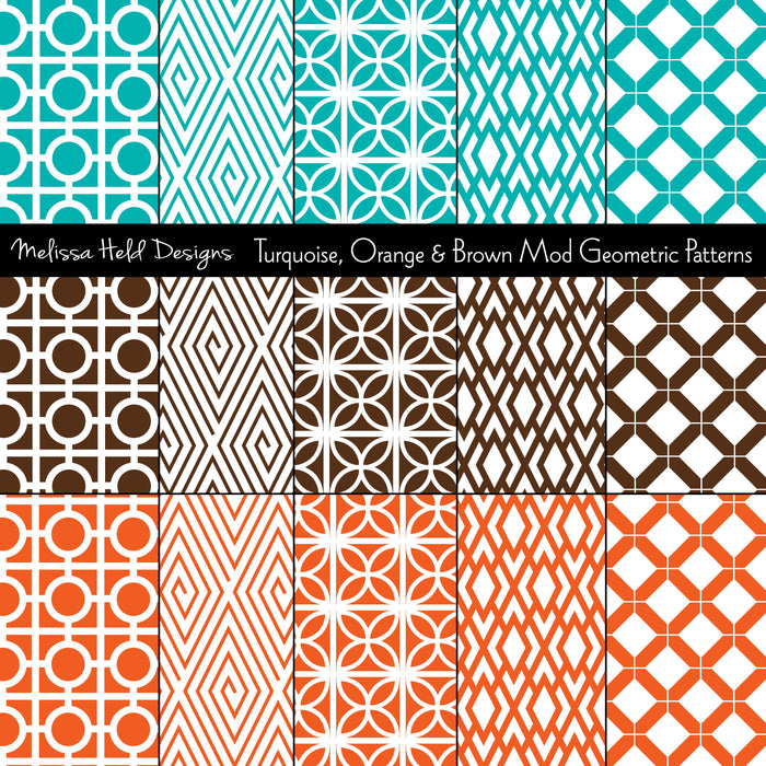 Turquoise, Orange and Brown Mod Geometric Patterns Digital Paper & Backgrounds Melissa Held Designs    Mygrafico