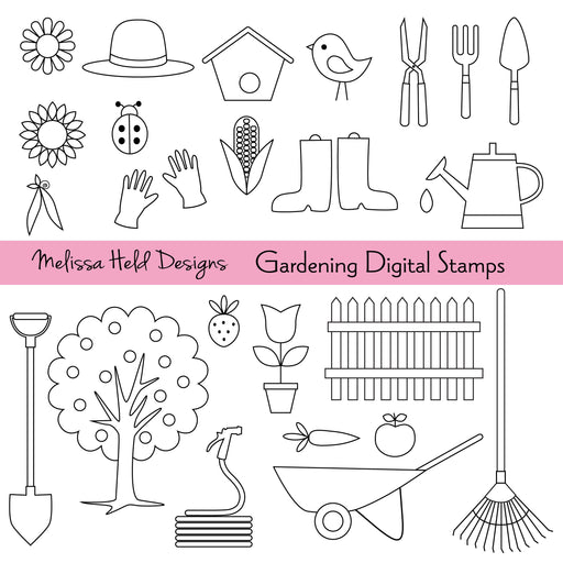 Gardening Digital Stamps Digital Stamps Melissa Held Designs    Mygrafico