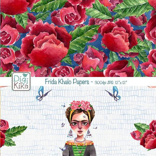 Fridas Watercolor Digital Papers, Fridas Watercolor Scrapbook Paper, Painter Papers, Butterfly, Roses, Wreath, Planner Supplies Digital Paper & Backgrounds DigiKika    Mygrafico