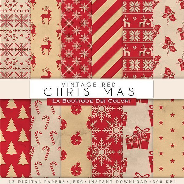 Red Vintage Christmas digital paper  La Boutique Dei Colori    Mygrafico