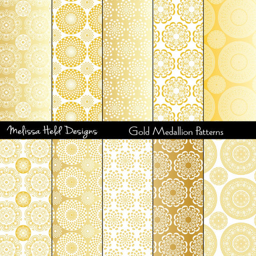 Gold Medallions Patterns Digital Paper & Backgrounds Melissa Held Designs    Mygrafico