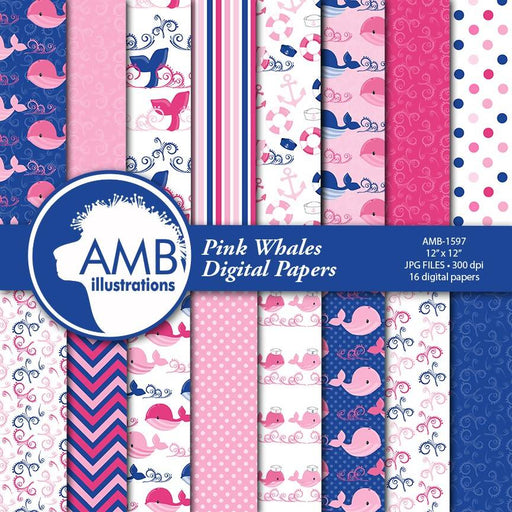 Nautical papers, Nautical digital papers, Nautical Nursery, Pink and blue whales, Baby girl nursery papers, commercial use, AMB-1597 Digital Paper & Backgrounds AMBillustrations    Mygrafico