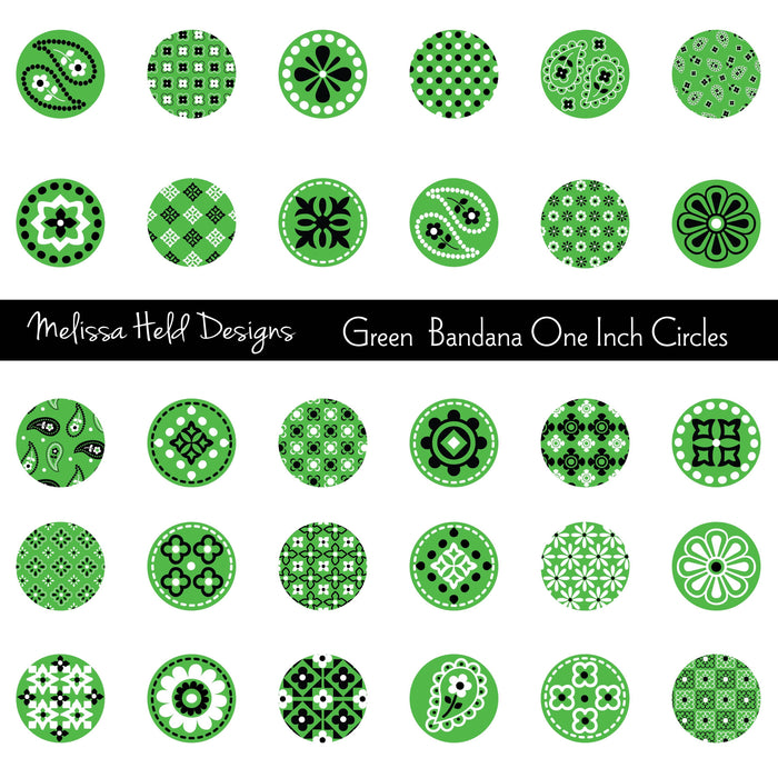 Green Bandana One Inch Circles Cliparts Melissa Held Designs    Mygrafico