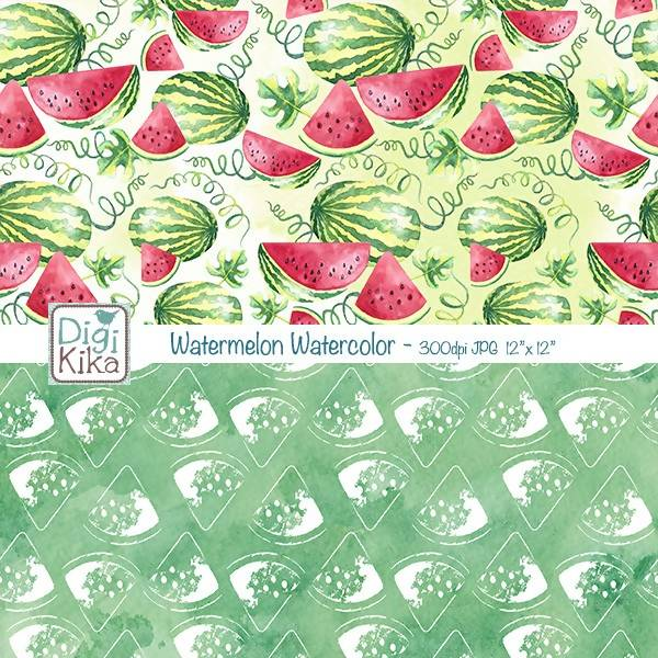 Watermelon Digital Papers, Watercolor Scrapbook Paper - Summer Papers - Watermelon Background - INSTANT DOWNLOAD Digital Paper & Backgrounds DigiKika    Mygrafico