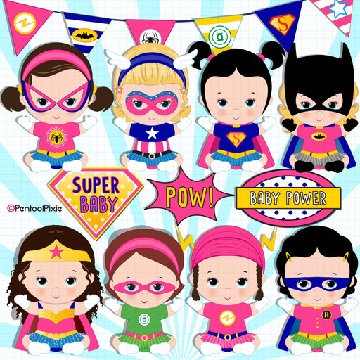 Baby girl superheroes clipart
