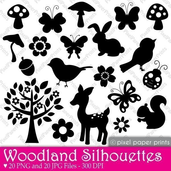 Woodland Animals Silhouettes Clipart  Pixel Paper Prints    Mygrafico