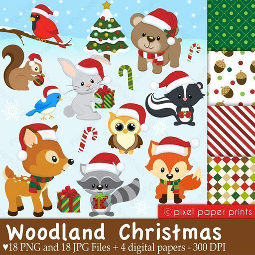 Woodland Christmas Clip Art and Paper Set  Pixel Paper Prints    Mygrafico