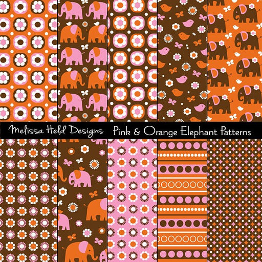 Pink and Orange Elephant Patterns Digital Paper & Backgrounds Melissa Held Designs    Mygrafico