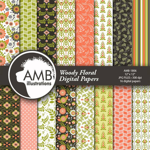 Floral Digital Papers, Shabby chic papers, vintage flowers, digital papers, pink floral pattern, country chic, AMB-1806 Digital Paper & Backgrounds AMBillustrations    Mygrafico