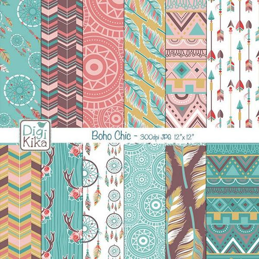 Boho Chic Digital Papers, Tribal Roses Scrapbook Paper - Boho Style Papers - Ethnic Background - Hippie Papers - INSTANT DOWNLOAD Digital Paper & Backgrounds DigiKika    Mygrafico