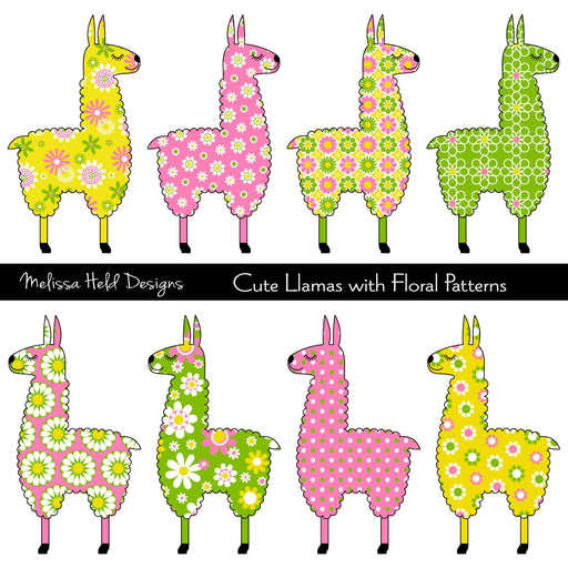 Cute Llamas with Floral Patterns Cliparts Melissa Held Designs    Mygrafico