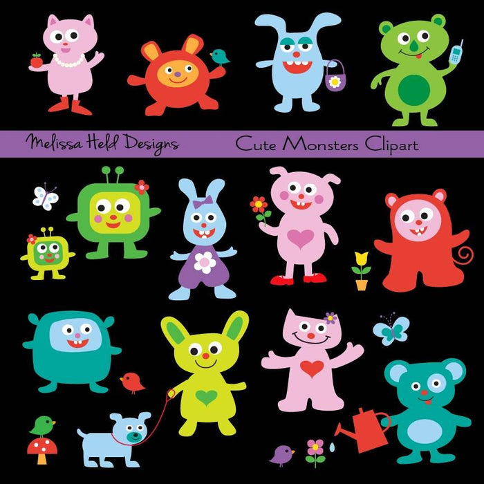 Cute Monsters  Clipart Cliparts Melissa Held Designs    Mygrafico