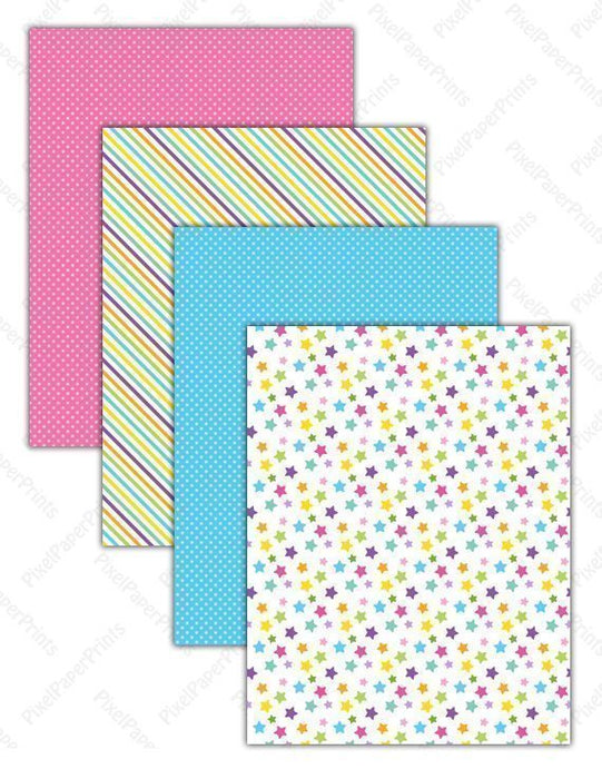 Kawaii Animals - Bright Colors  Pixel Paper Prints    Mygrafico