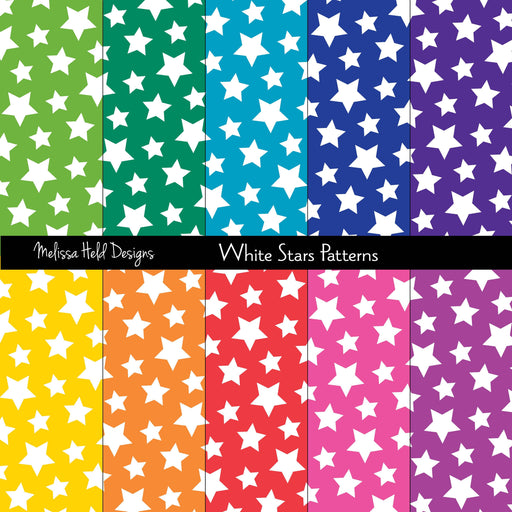 White Stars Patterns Digital Paper & Backgrounds Melissa Held Designs    Mygrafico