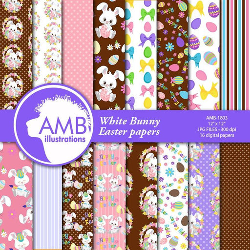 Chocolate Easter Bunny Papers, Easter Paper, Scrapbook Easter Paper Patterns, Chocolate Easter Eggs Paper, Easter rabbit papers, AMB-1803 Digital Paper & Backgrounds AMBillustrations    Mygrafico