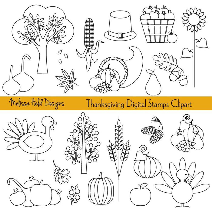 Thanksgiving Digital Stamps Clipart Digital Stamps Melissa Held Designs    Mygrafico