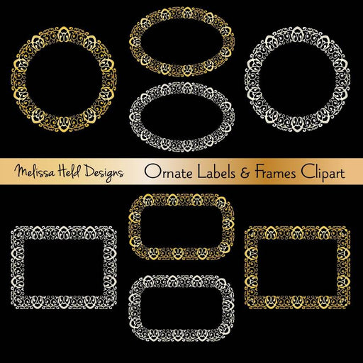 Silver & Gold Ornate Frames and Labels Cliparts Melissa Held Designs    Mygrafico