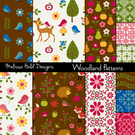 Woodland Patterns Digital Paper & Backgrounds Melissa Held Designs    Mygrafico
